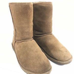 Bearpaw Mid Calf Suede Sheepskin Snow Boots